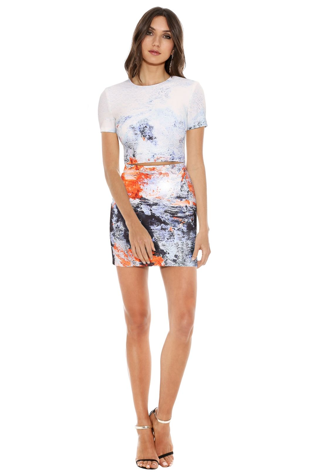 Bec & Bridge - Fire & Ice Tee Dress - White Print - Front