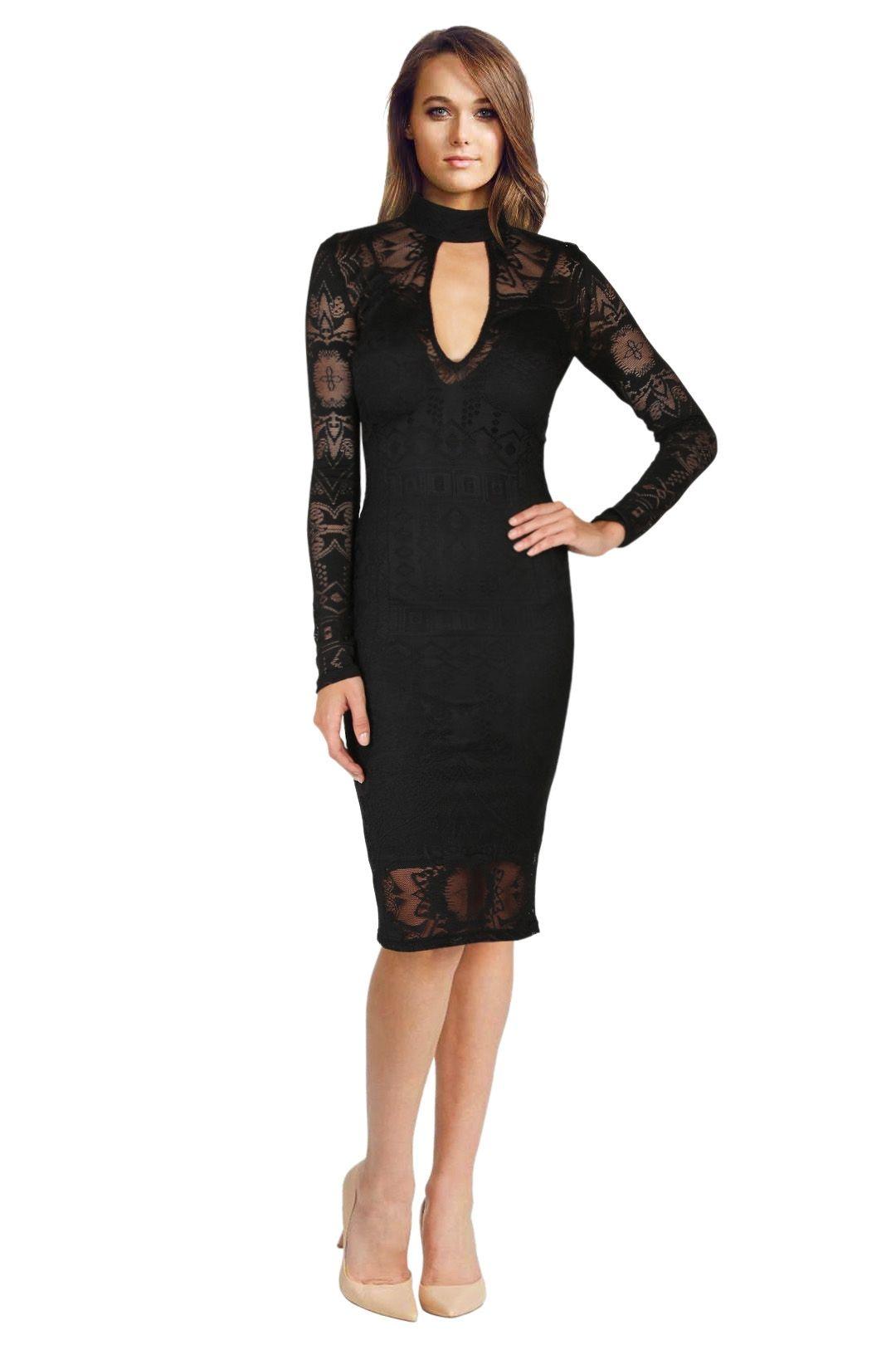 Bec & Bridge - Marvel Long Sleeved Lace Dress -  Black - Front