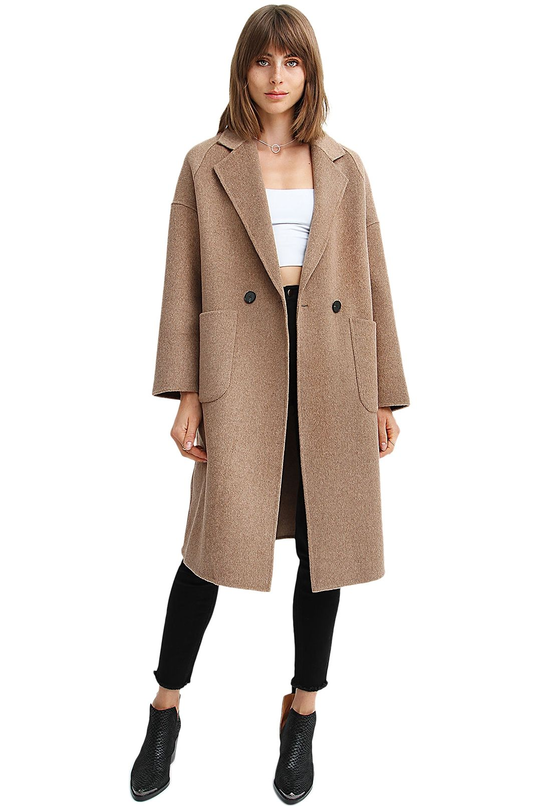 Belle and Bloom Publisher Double-Breasted Wool Blend Coat Oat Brown