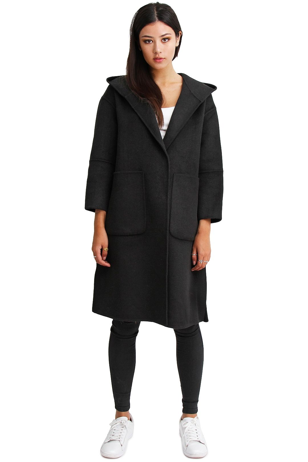 Belle and Bloom Walk This Way Coat Pure Black