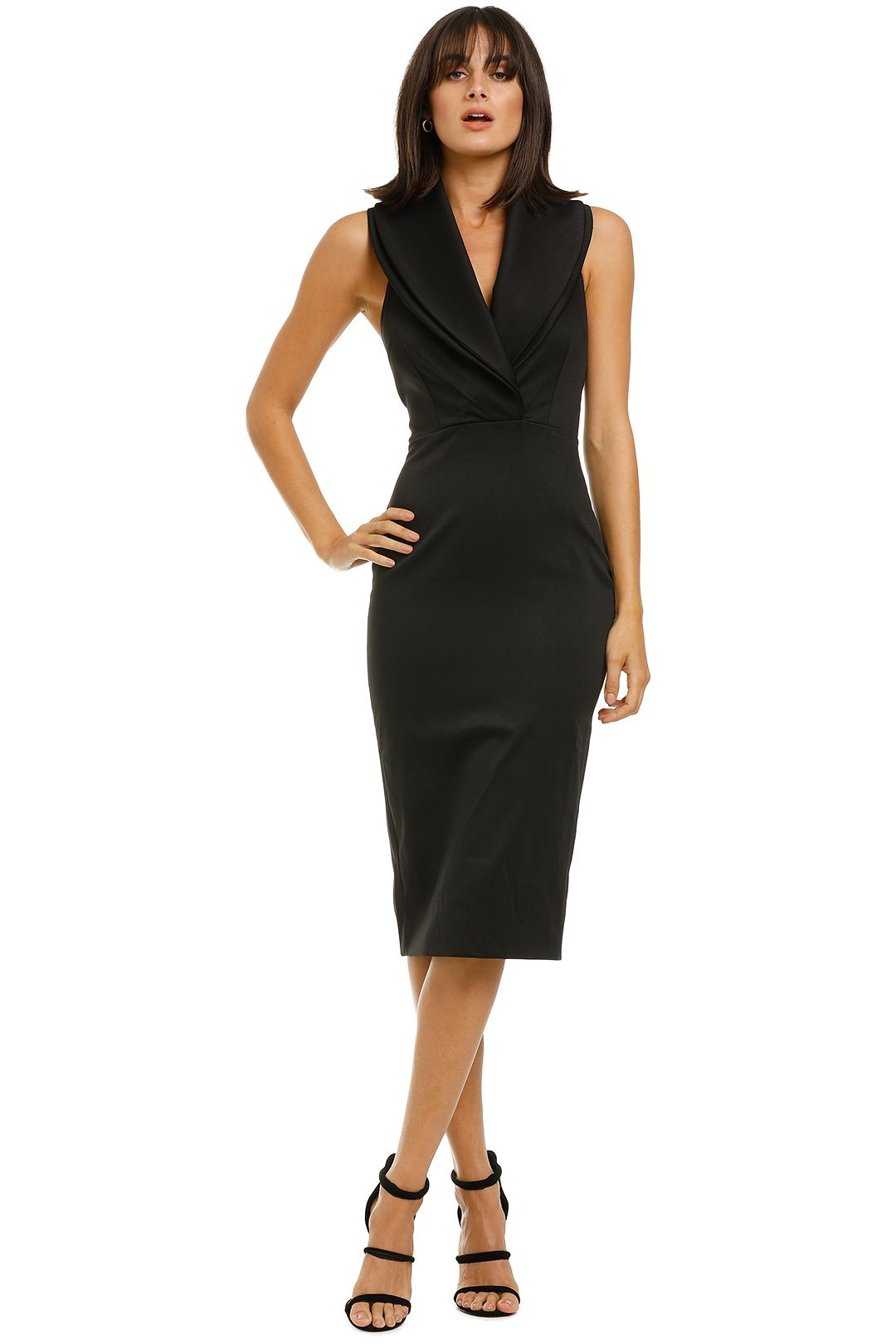 Bianca-and-Bridgett-Melania-Midi-Dress-Black-Front
