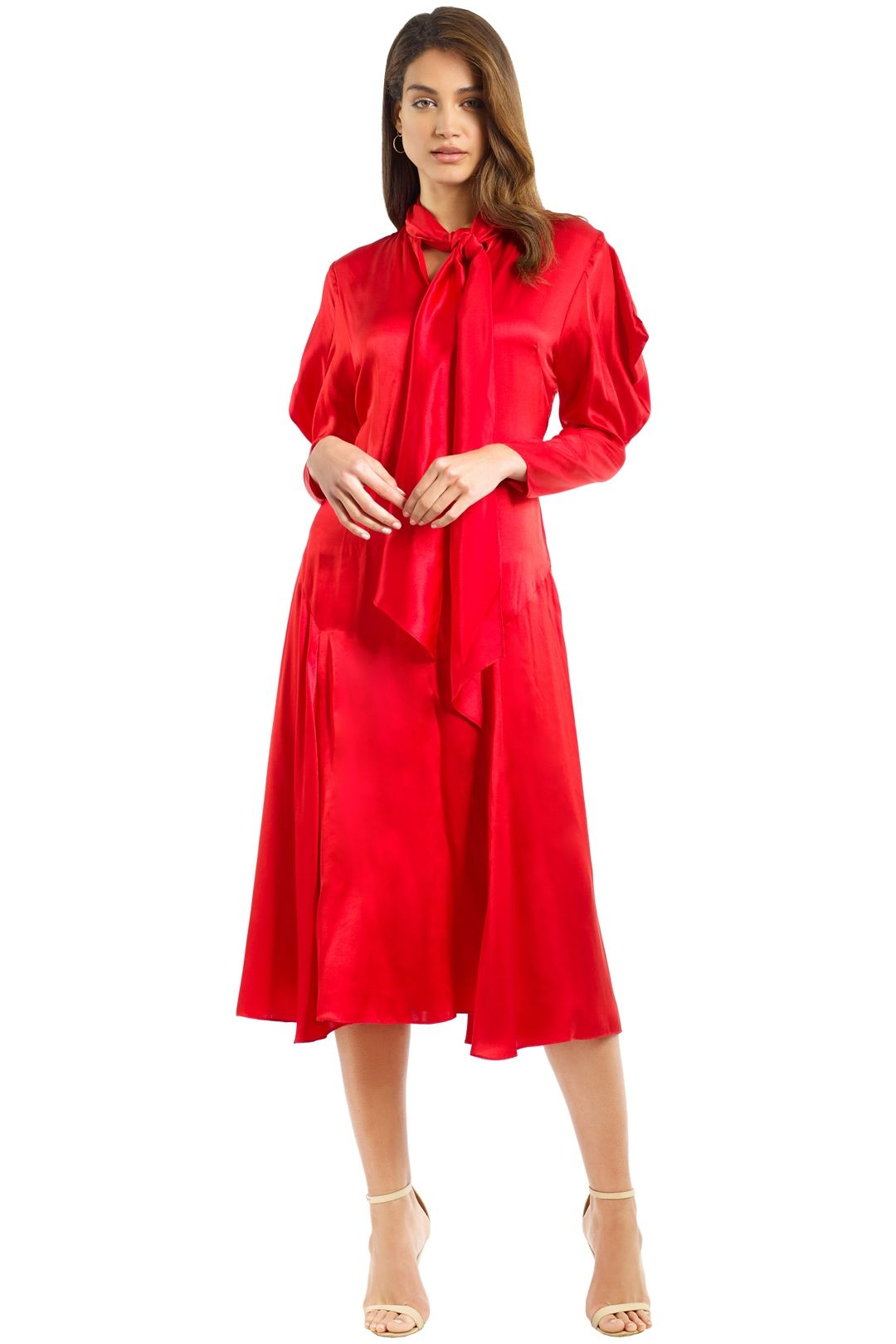 Bianca Spender - Crimson Silk Satin Liberation Dress - Red - Front