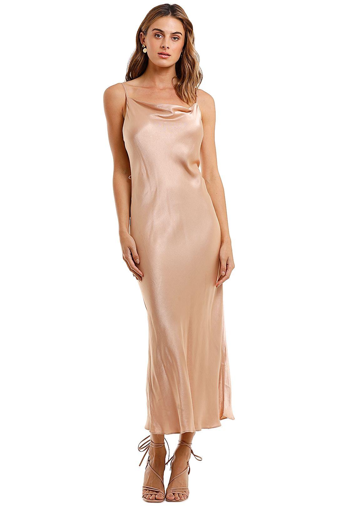 Shona Joy Bias Cowl Midi Dress Dessert Rose