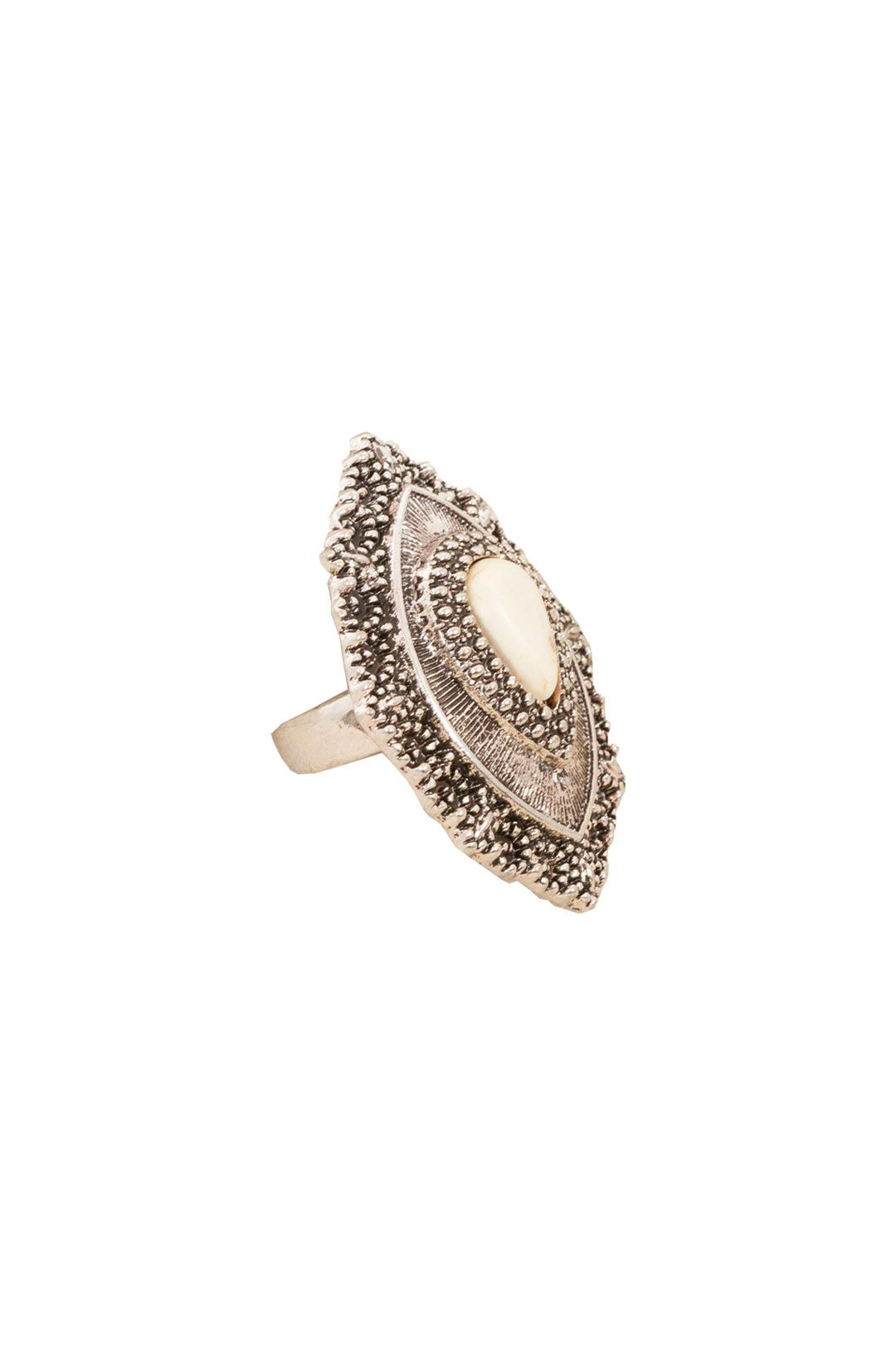 Adorne - Boho Stone Teardrop Ring - Natural Silver - Front