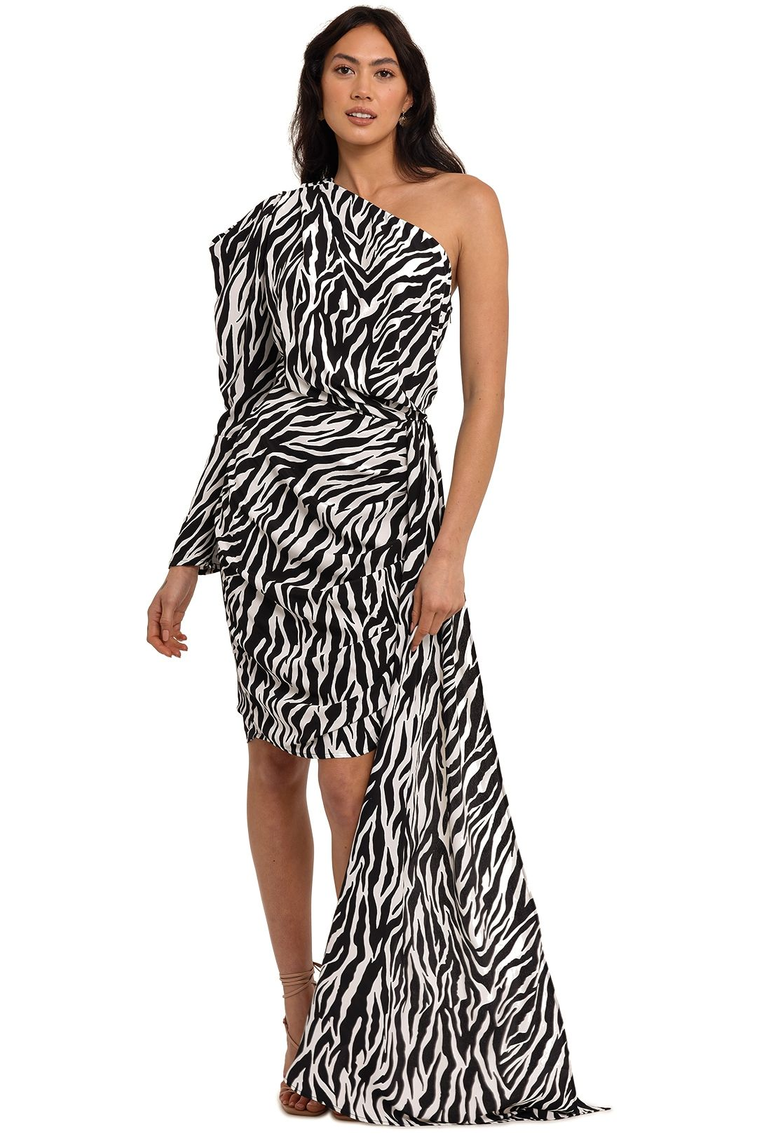 Bronx and Banco Zebra Mini One Shoulder Dress