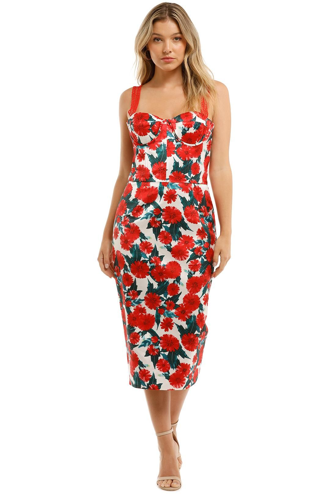 Bronx and Branco Ruby Pencil Dress Red Floral