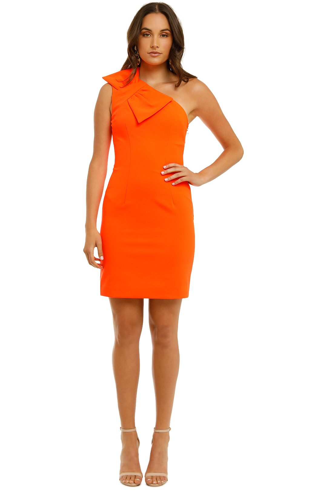 By-Johnny-Belle-Bow-Mini-Dress-Neon-Orange-Front