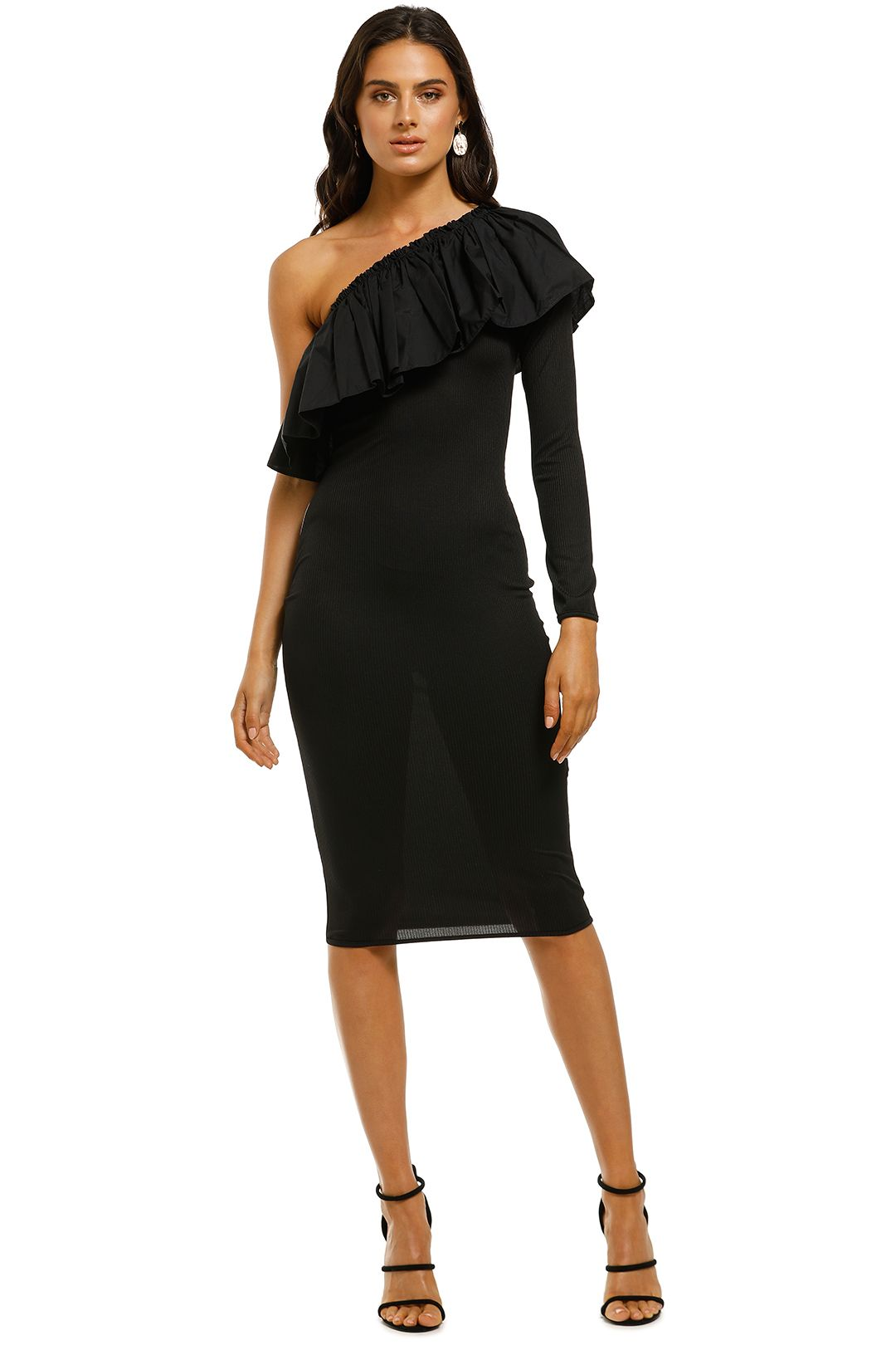 By-Johnny-Cotton-Frill-Shoulder-Dress-Black-Front