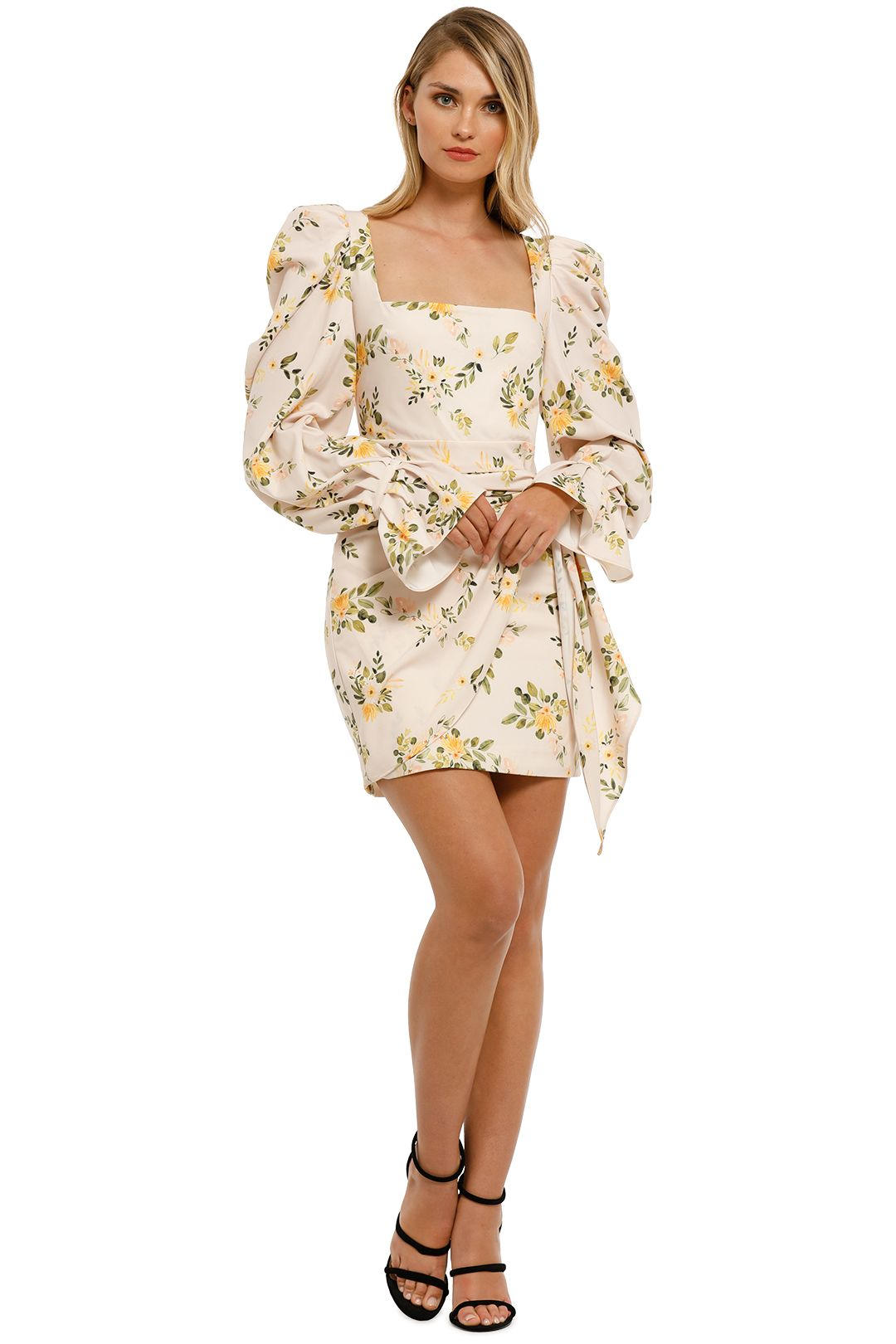 By-Johnny-Peach-Garden-Mini-Dress-Peach-Floral-Front