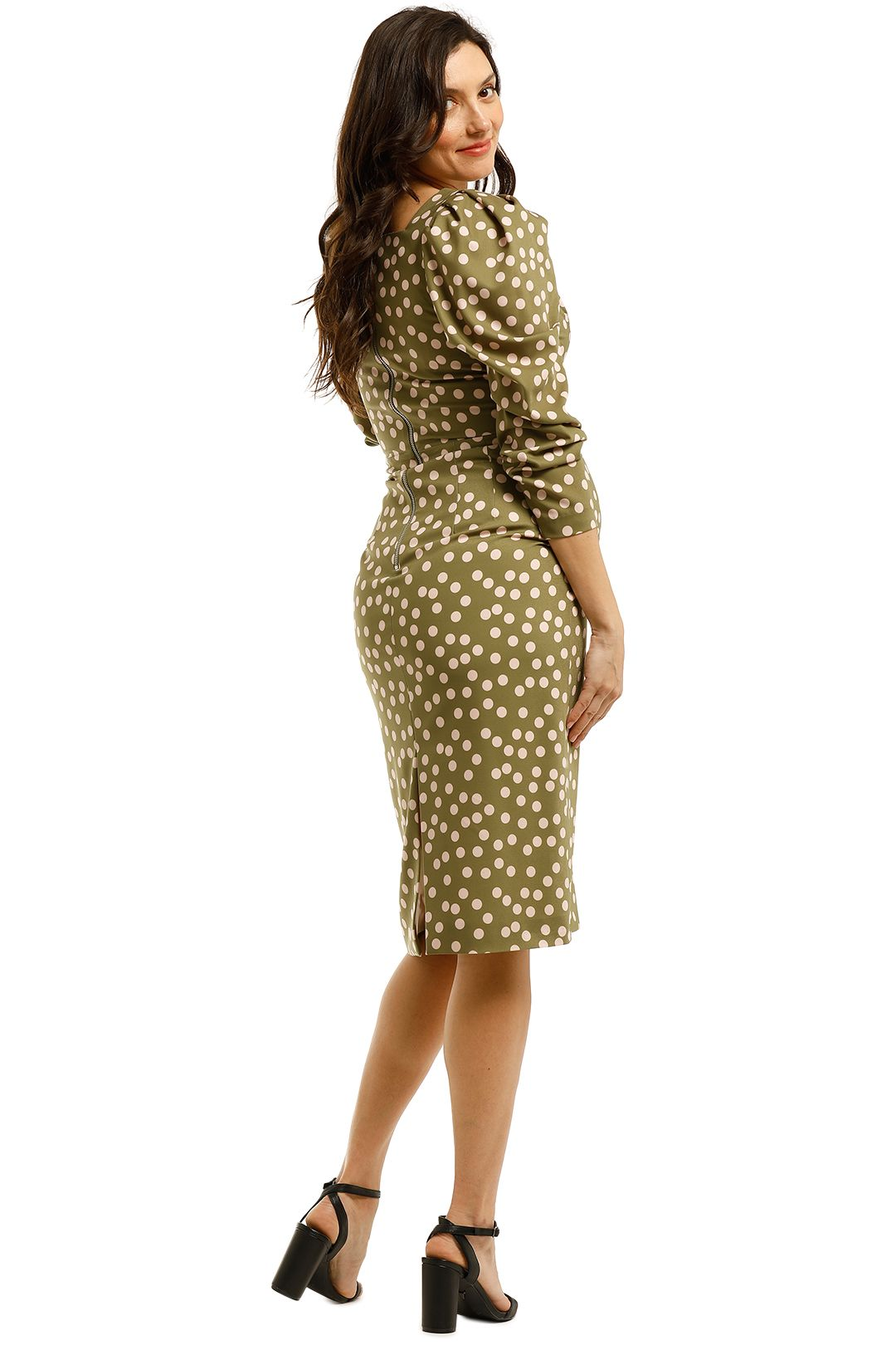 By-Johnny-Peach-Polka-V-Plunge-Midi-Dress-Olive-Peach-Back