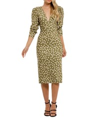 By-Johnny-Peach-Polka-V-Plunge-Midi-Dress-Olive-Peach-Front