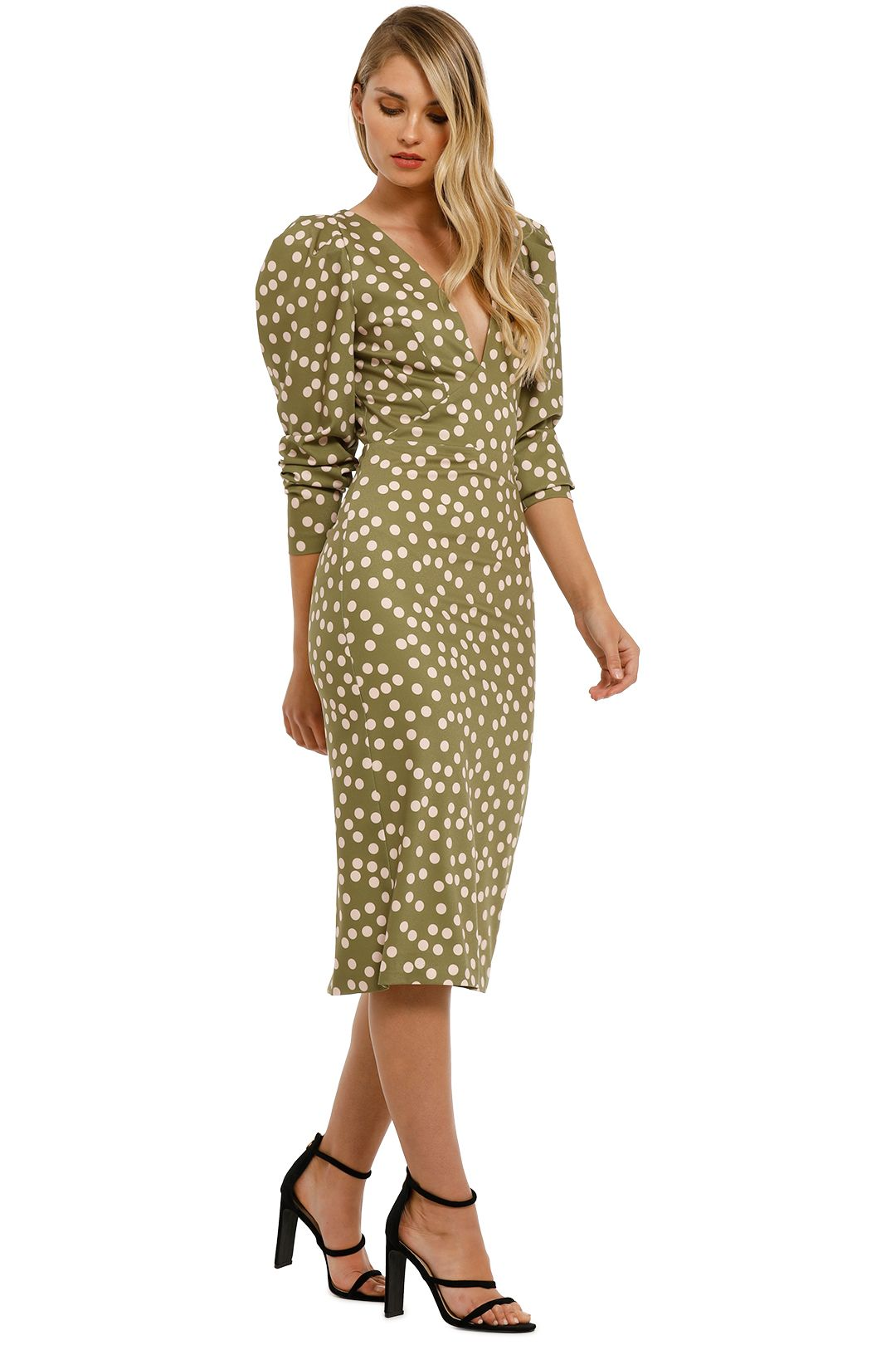 By-Johnny-Peach-Polka-V-Plunge-Midi-Dress-Olive-Peach-Side