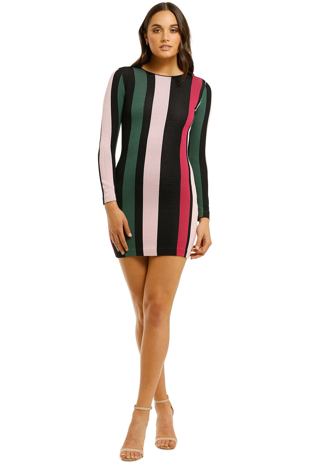 By-Johnny-Pink-Tones-Stripe-Mini-Dress-Front