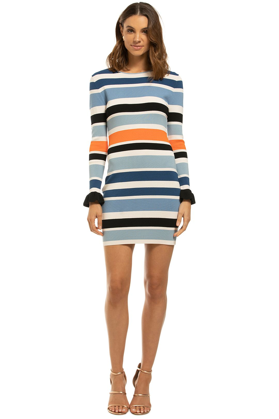 By-Johnny-Side-Line-Frill-Sleeve-Mini-Dress-Front