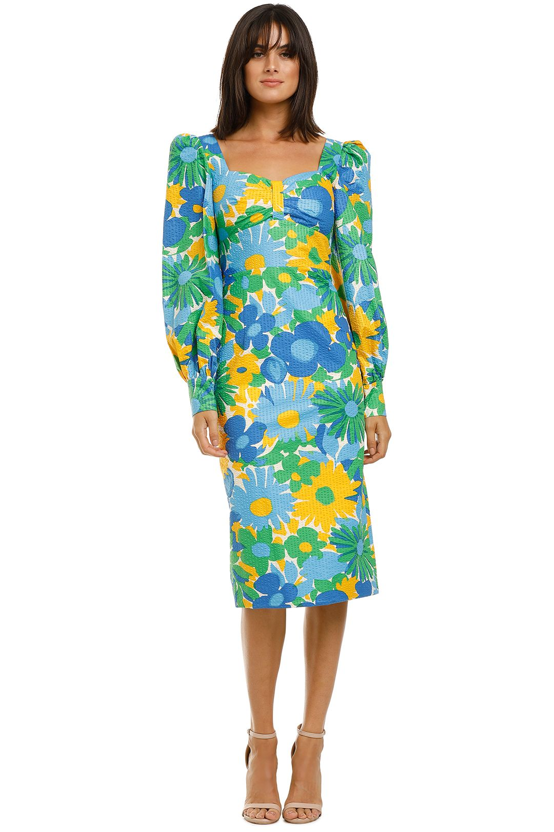 By-Johnny-Sunday-Floral-Cuff-Sleeve-Midi-Dress-Front