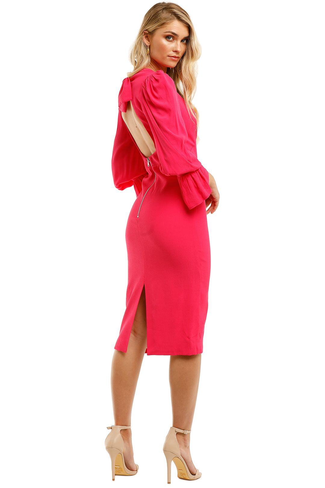 By-Johnny-Tie-Back-Tulip-Sleeve-Midi-Dress-Hot-Pink-Back