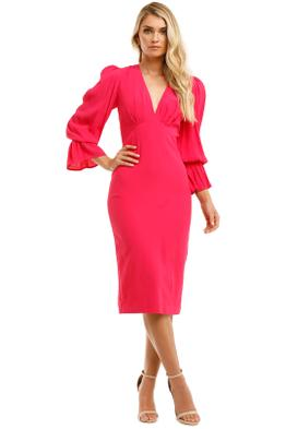 By-Johnny-Tie-Back-Tulip-Sleeve-Midi-Dress-Hot-Pink-Front