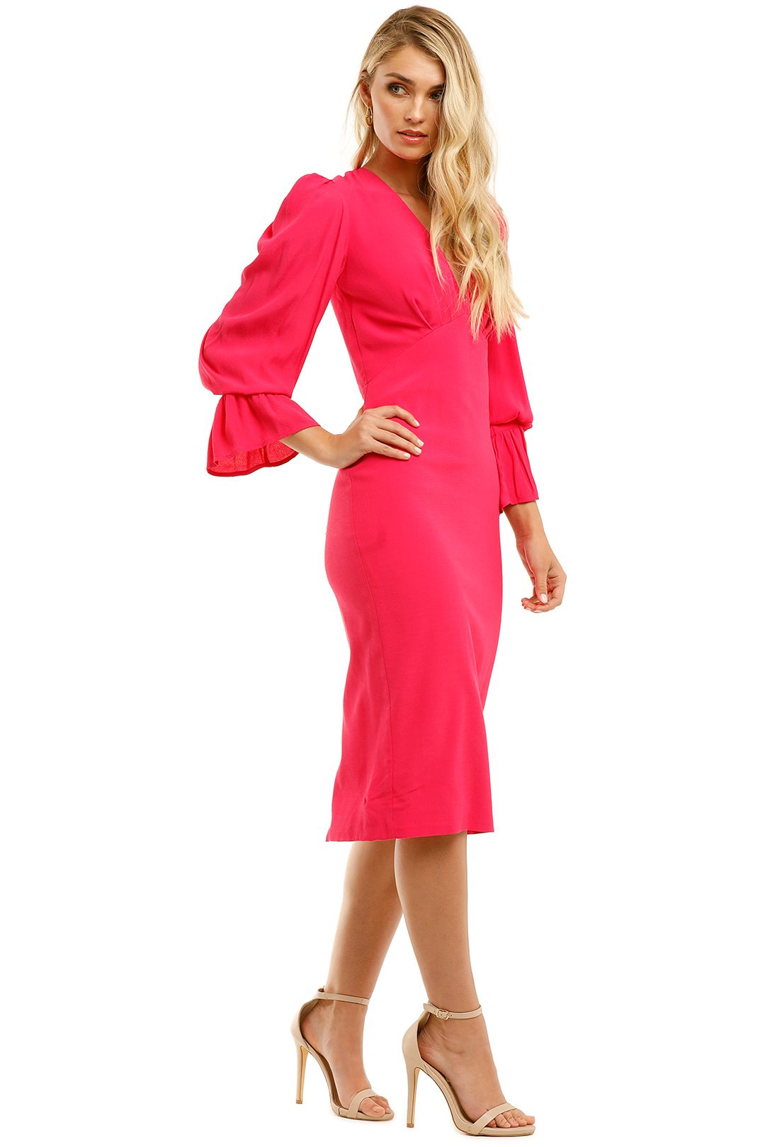 By-Johnny-Tie-Back-Tulip-Sleeve-Midi-Dress-Hot-Pink-Side