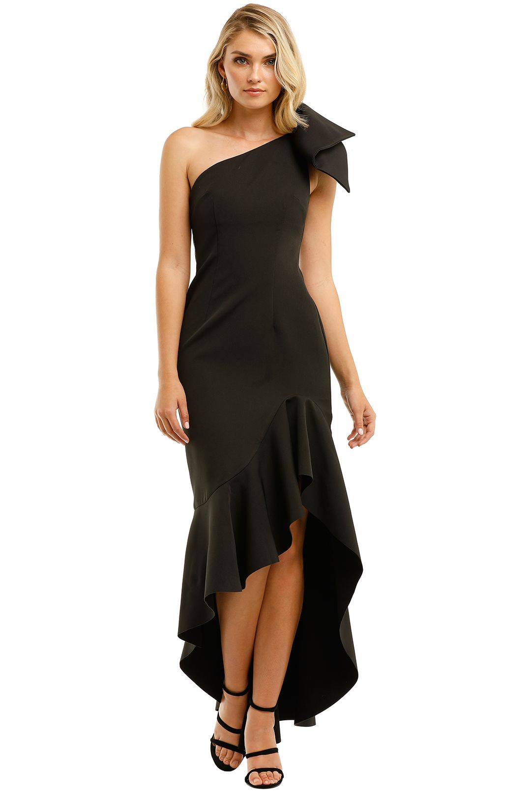 By-Johnny-Tie-Shoulder-Wave-Gown-Black-Front