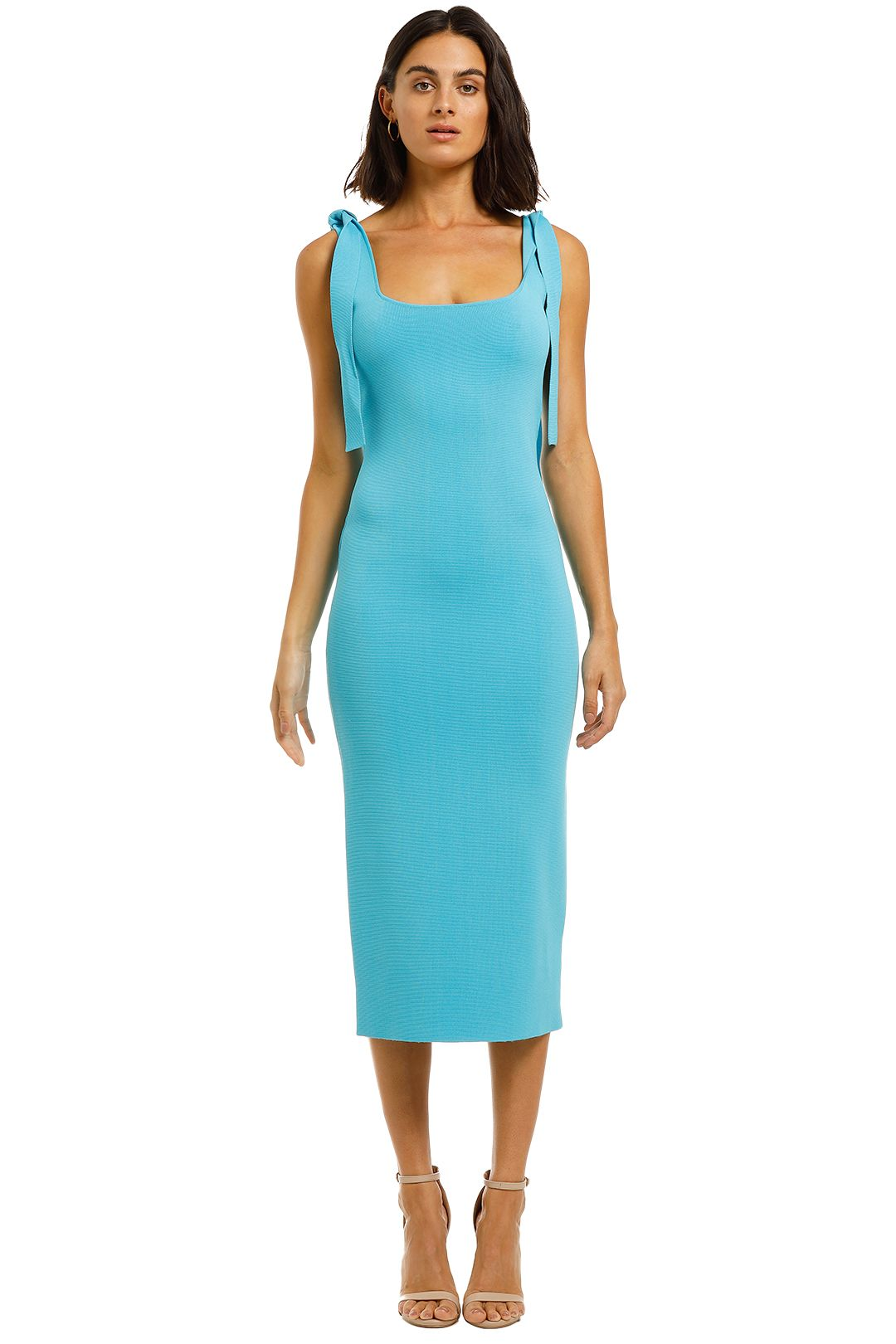 By-Johnny-Tie-Up-Knit-Midi-Blue-Front