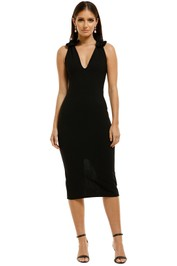 By-Johnny-V-Neck-Bow-Shoulder-Dress-Black-Front