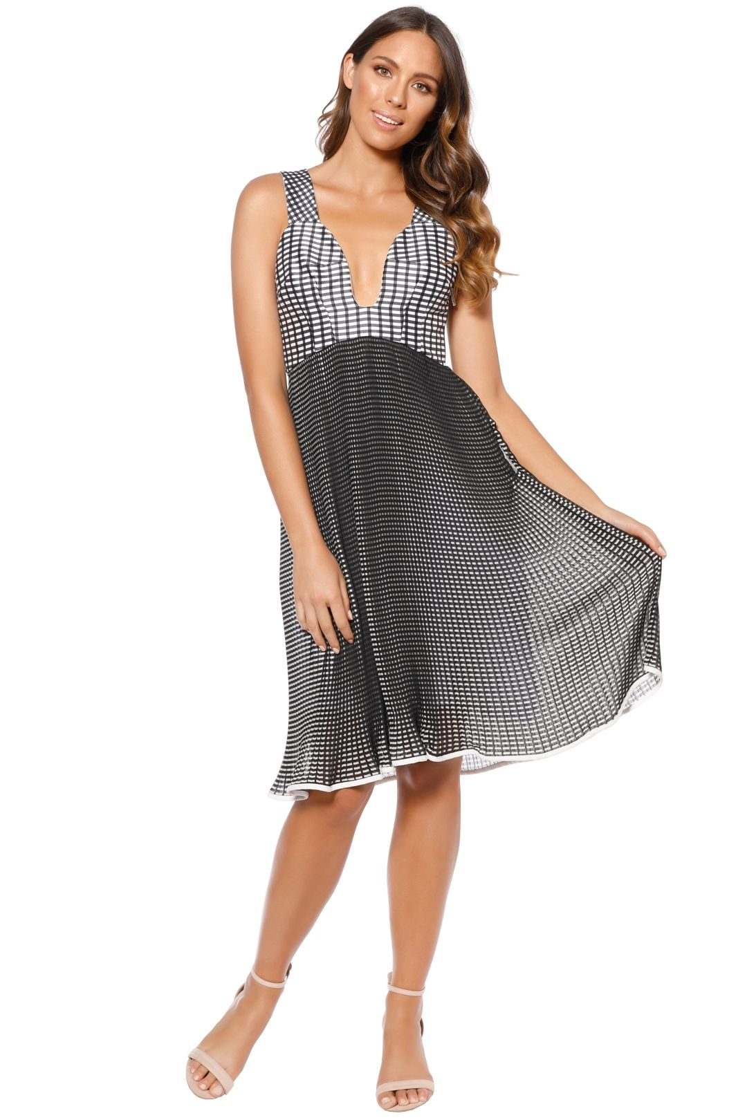 By Johnny - Iris Pleate Plunge Dress - Black White - Front