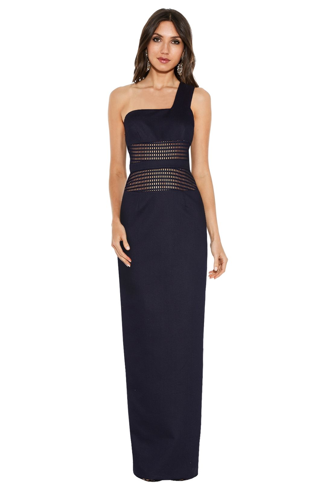 By Johnny - Mesh Panel Sharpened Gown - Navy - Front