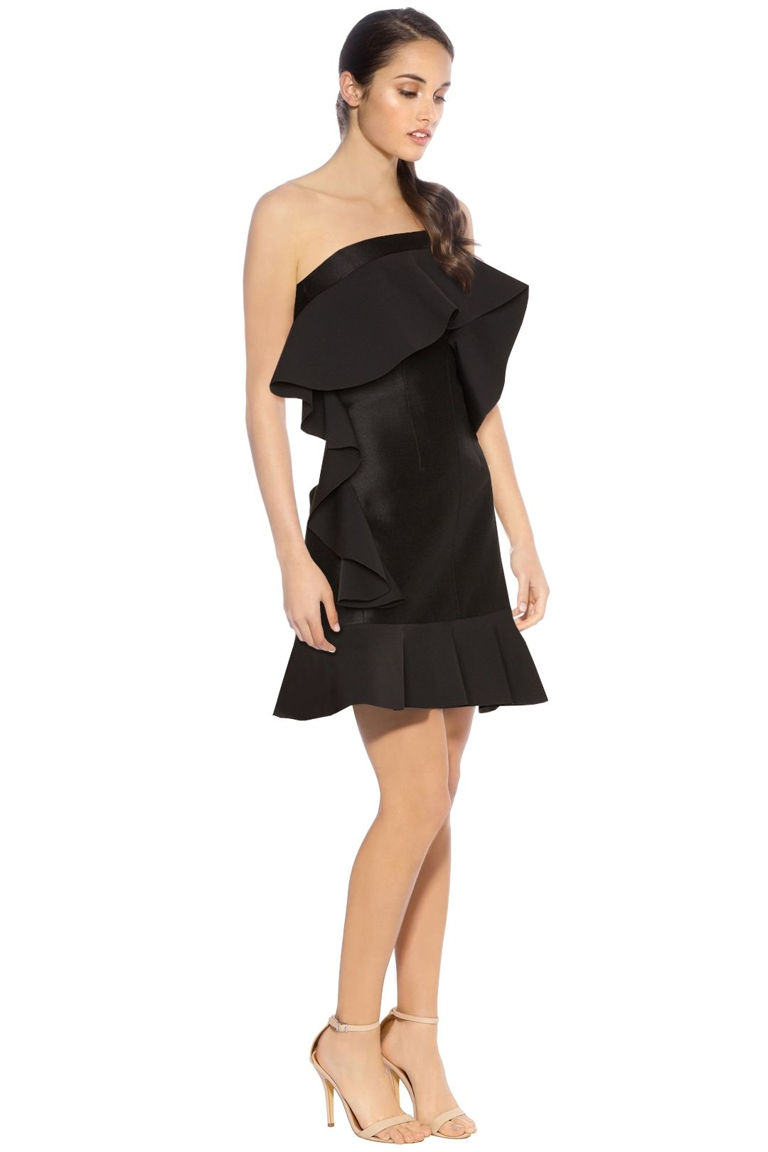 By Johnny - Tess Angel Frill Mini Dress - Black - Side
