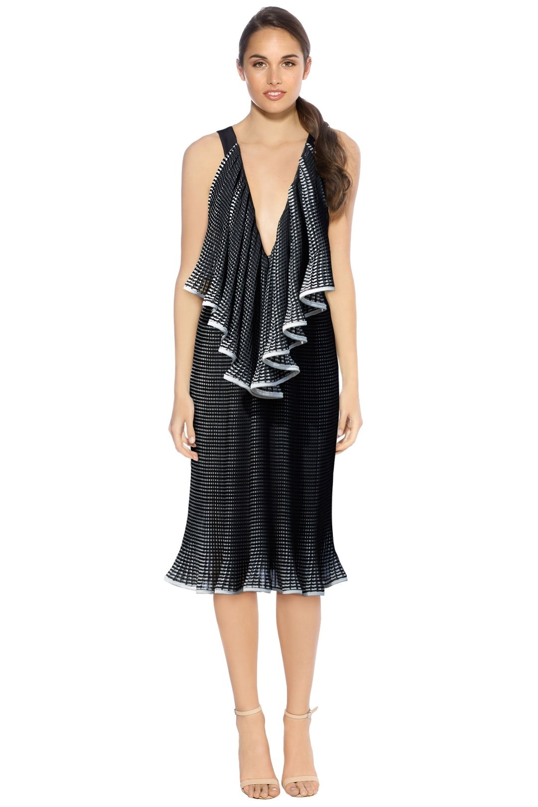 By Johnny - The Lucy Iris Pleat Dress - Black White - Front