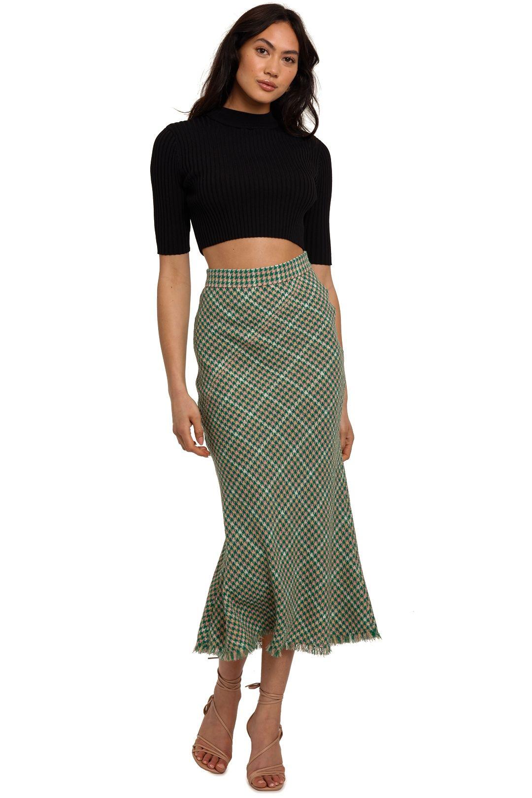 By Johnny Alex Tweed Bias Skirt Green midi