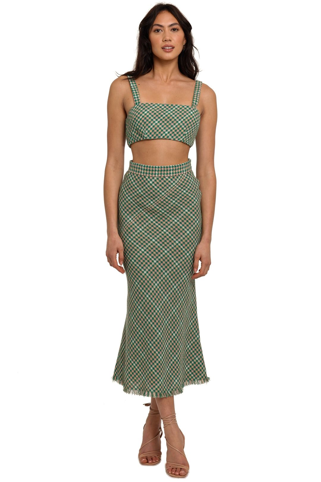 By Johnny Demi Tweed Bra and Skirt Set cropped