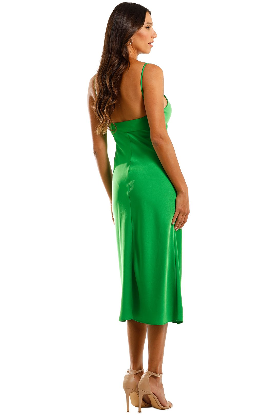 By Johnny Isla Cut Out Bias Midi Dress Green