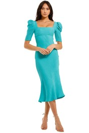 By Johnny Shell Sleeve Bias Dress Blue