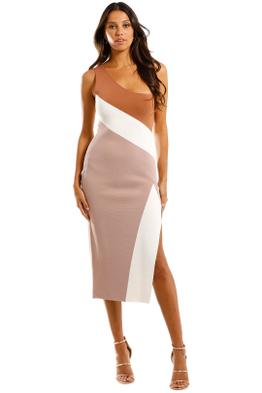 By Johnny - Taupe Tone Knit Midi Dress