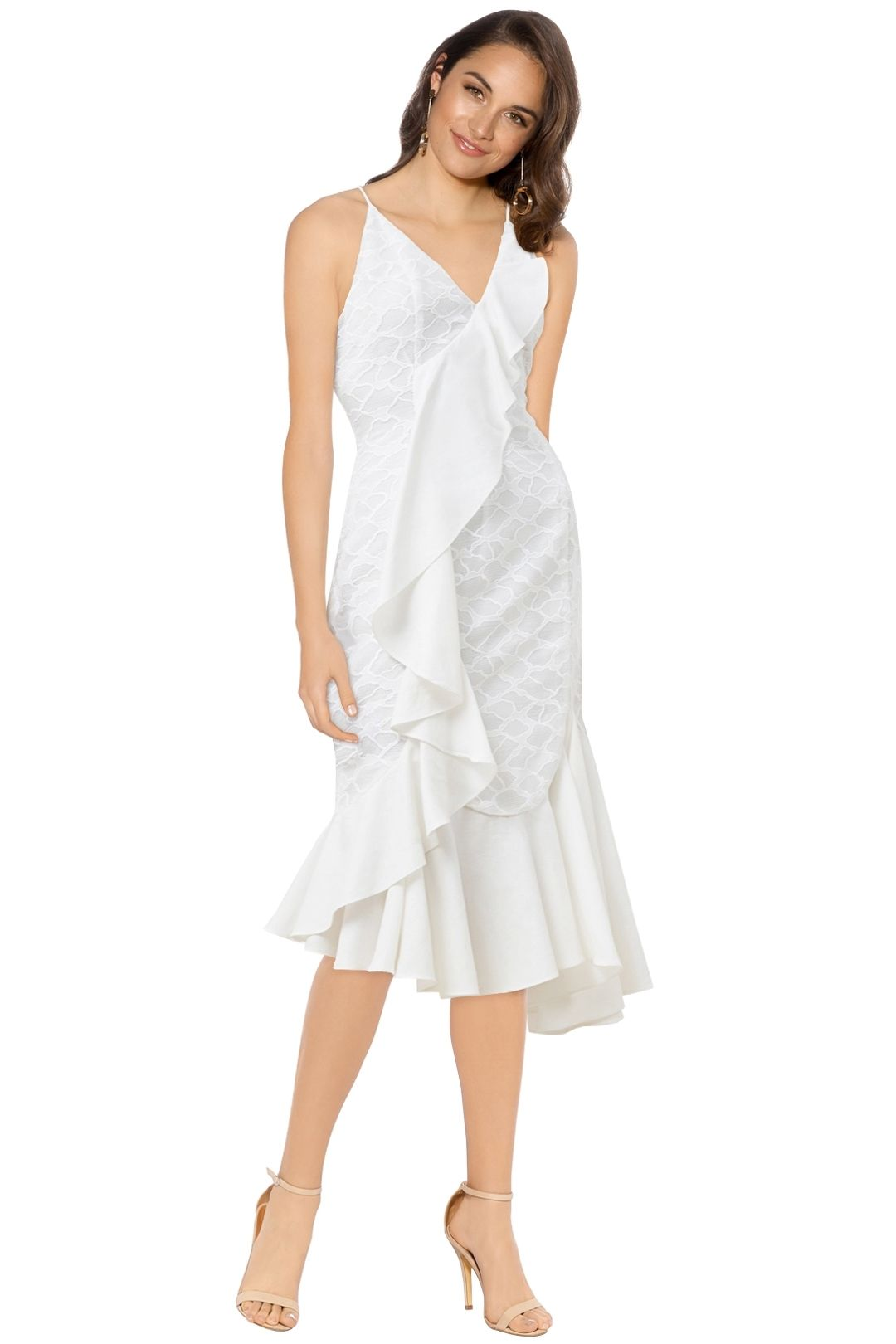 C/MEO Collective - Phase Midi Dress - Ivory - Front
