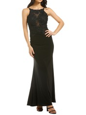 Cachet-Meghan Dress-Black-Black-Front
