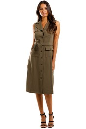 Calvin Klein Sleeveless Button Front Shirt Dress in Khaki