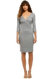Camilla-V-Neck-Plaid-Sheath-Dress-Grey-Plaid-Front