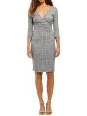 Camilla-V-Neck-Plaid-Sheath-Dress-Grey-Plaid-Front
