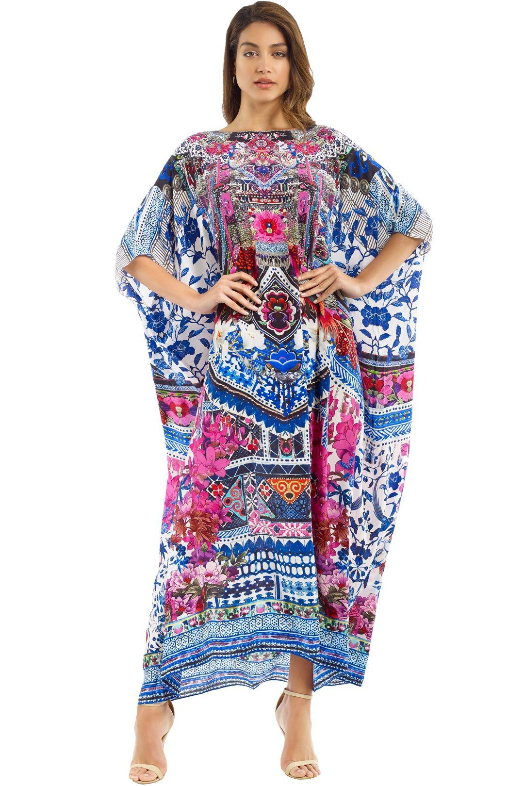 Camilla - Bohemian Paradise Kaftan - Blue - Front