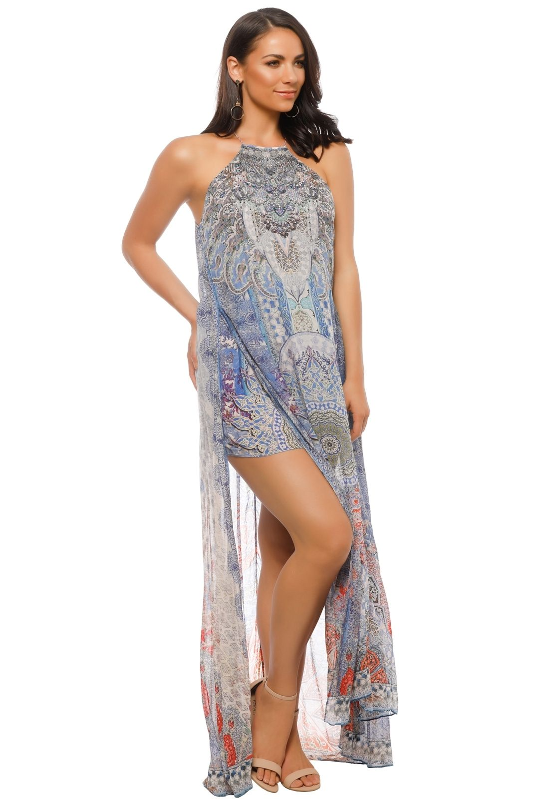 Camilla - Concubine Realm Sheer Overlay Dress - Blue Prints - Front