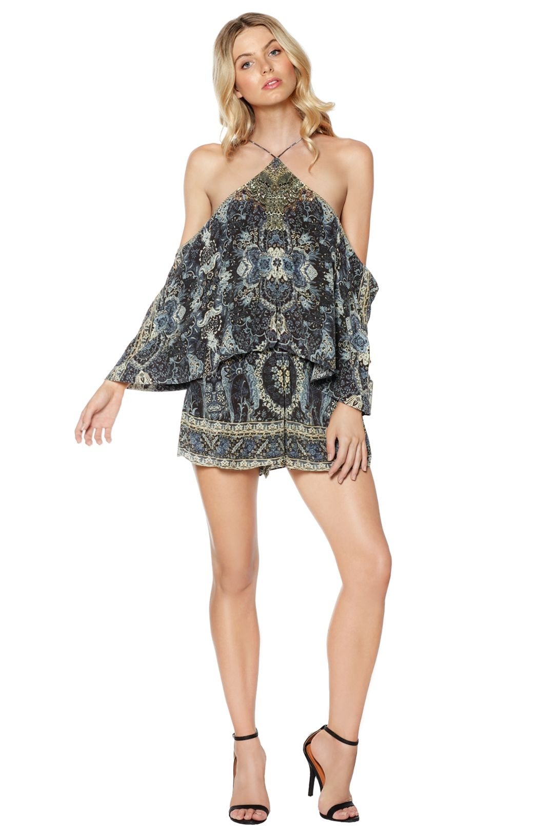 Camilla - Constantinople Halter Neck Layered Playsuit - Prints - Front