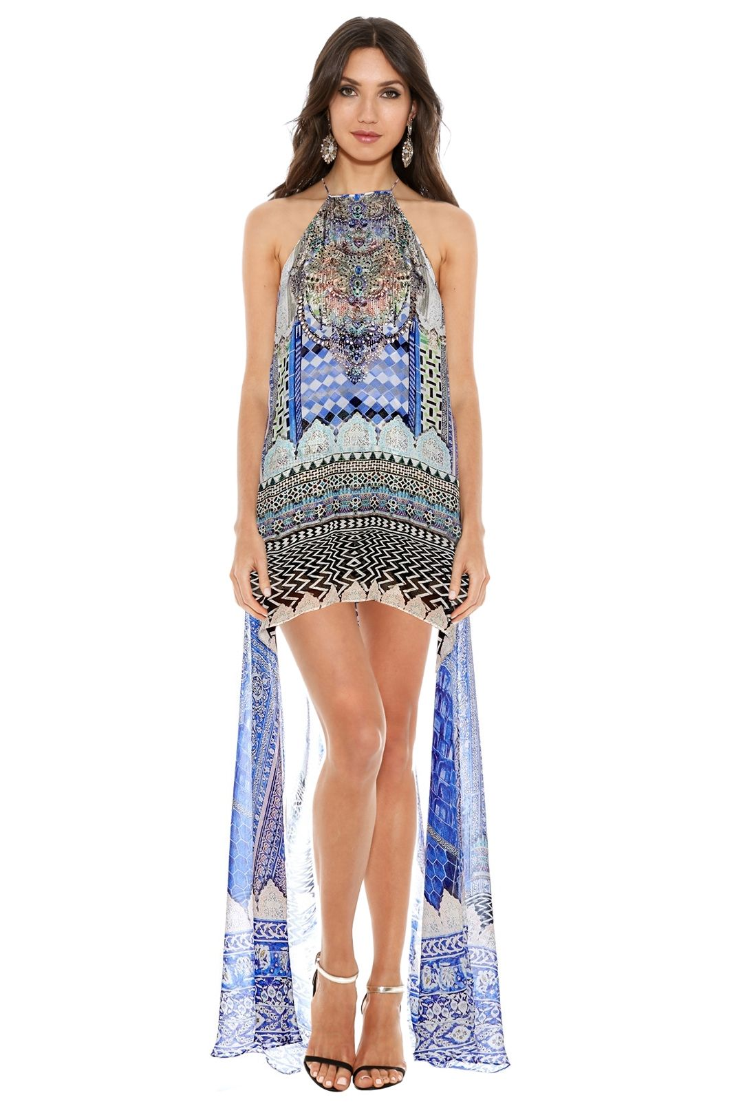 Camilla - Courtyard of Maidens Short Sheer Overlay Dress - Prints - Front