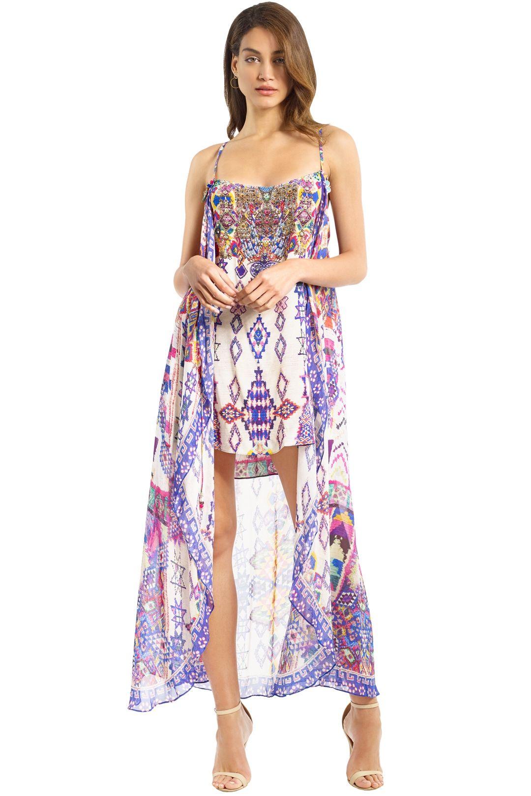Camilla - Electric Aztec Dress - Purple Pink - Front