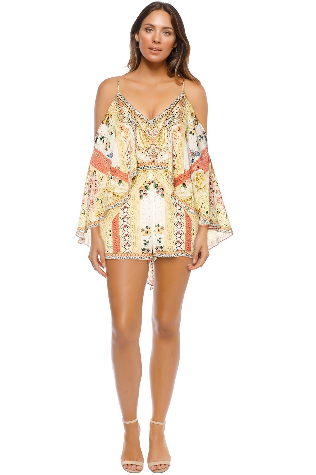 Camilla - My Summer Love  Double Layer Playsuit - Cream Print - Front