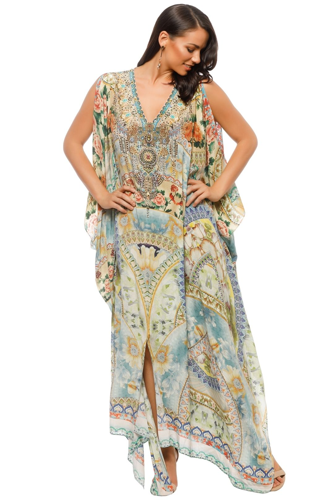 Camilla - Sign of Peace Split Front Sleeve Kaftan - Prints - Front
