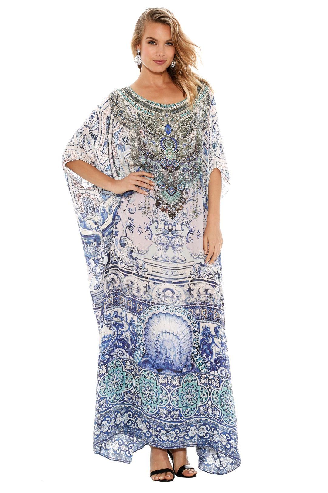 Camilla - Temptress of the Deep Round Neck Kaftan - Prints - Front