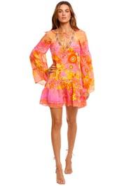 Camilla A Line Gathered Panel Dress print