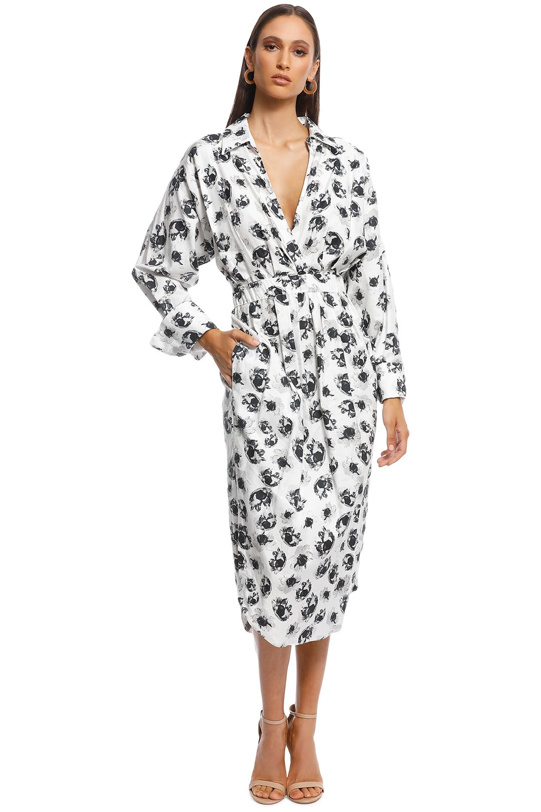 Camilla and Marc - Astra Midi Dress - Black and White - Front