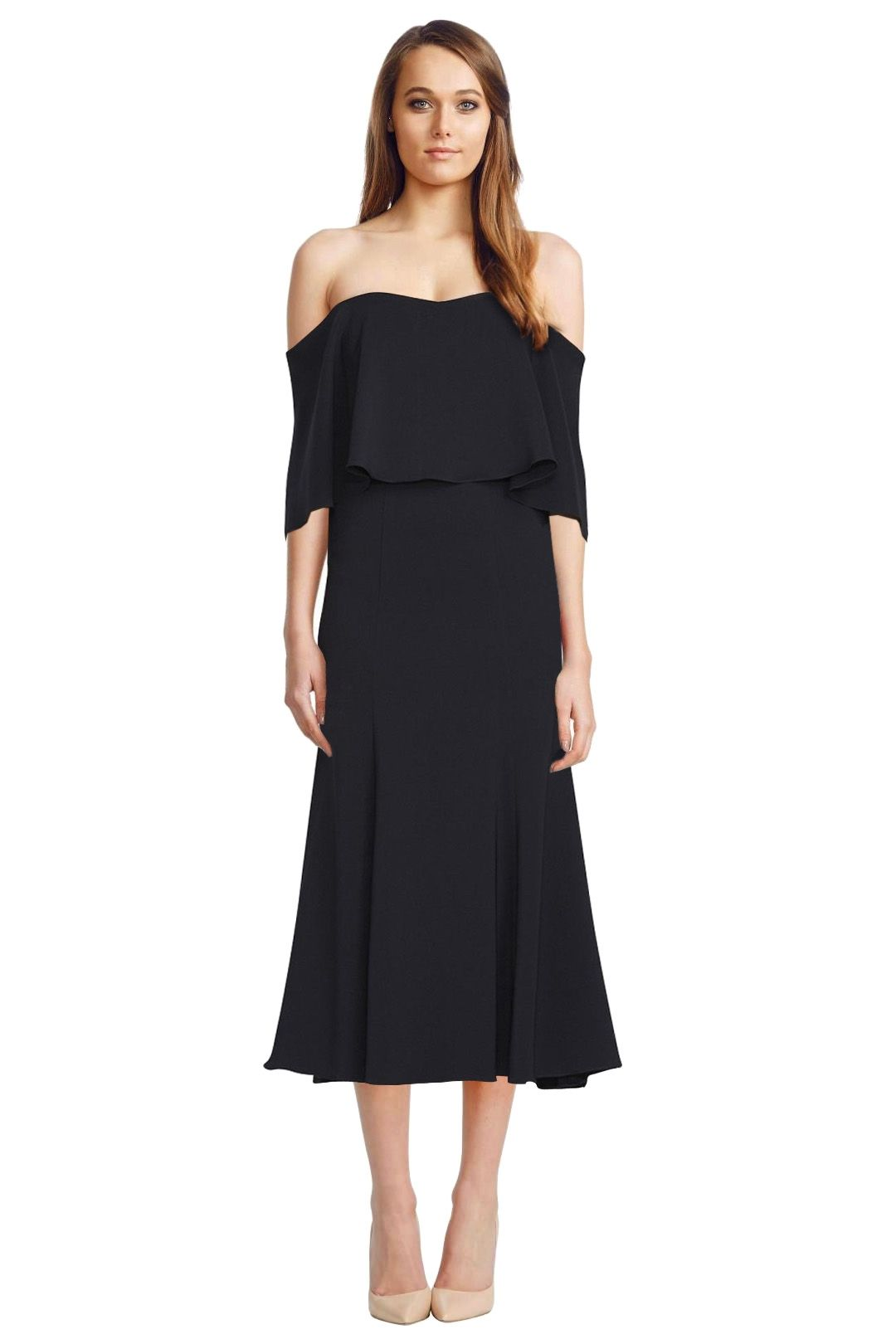 Camilla and Marc - Bridal Off Shoulder Dress - Black - Front